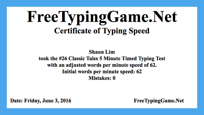 Typing Certificate - Typing Excellence - CAD ATM