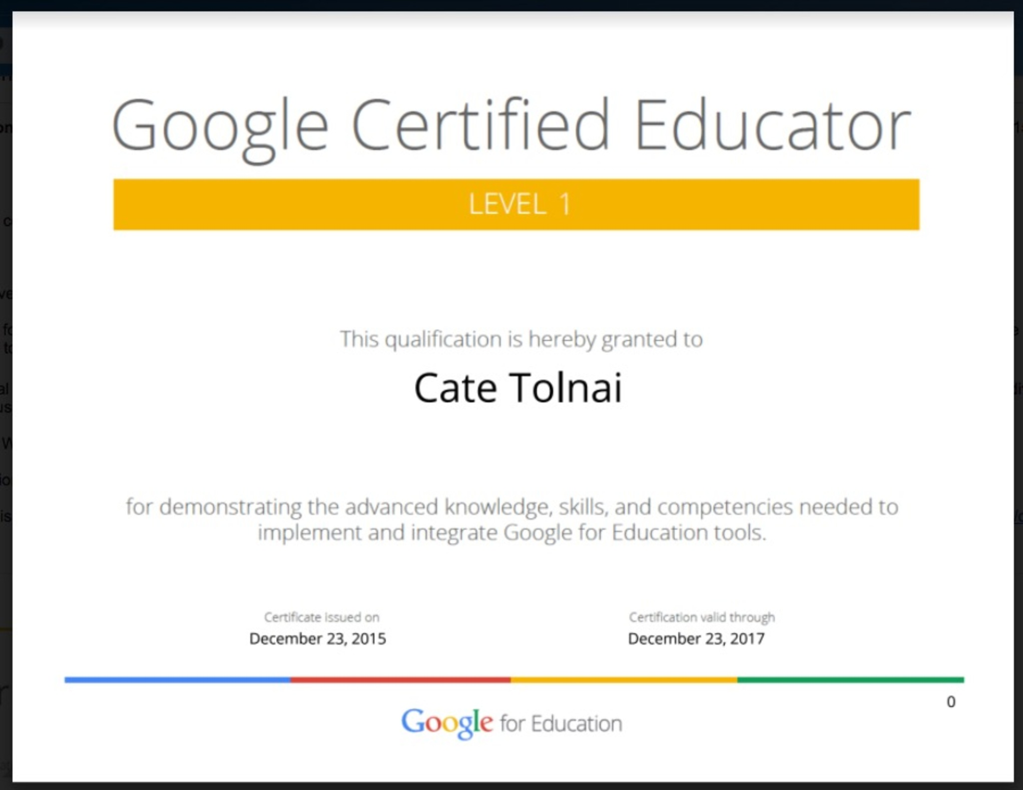Cate Tolnai Google Certified Educator Level 1 Badge List