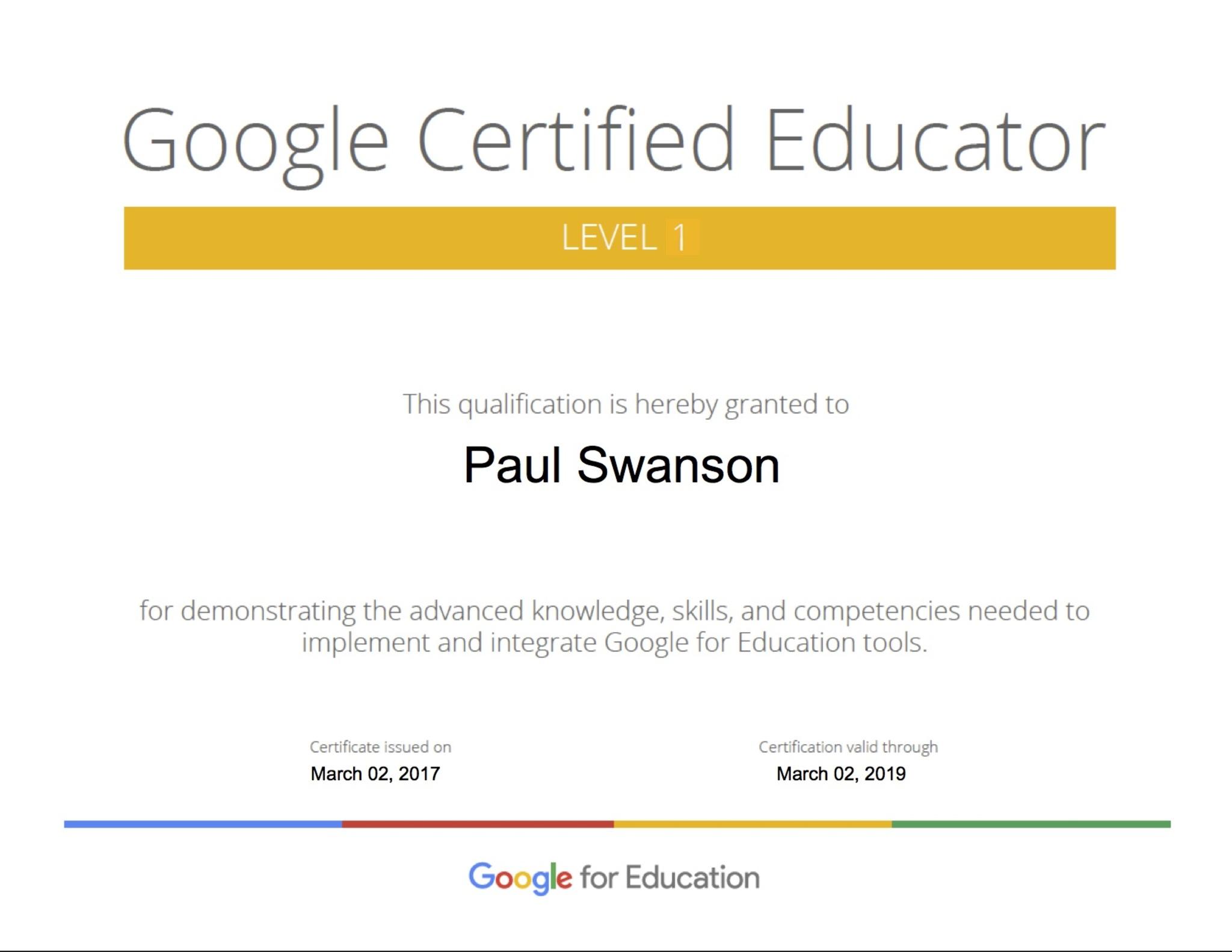 Paul Swanson Google Certified Educator Level 1 Badge List