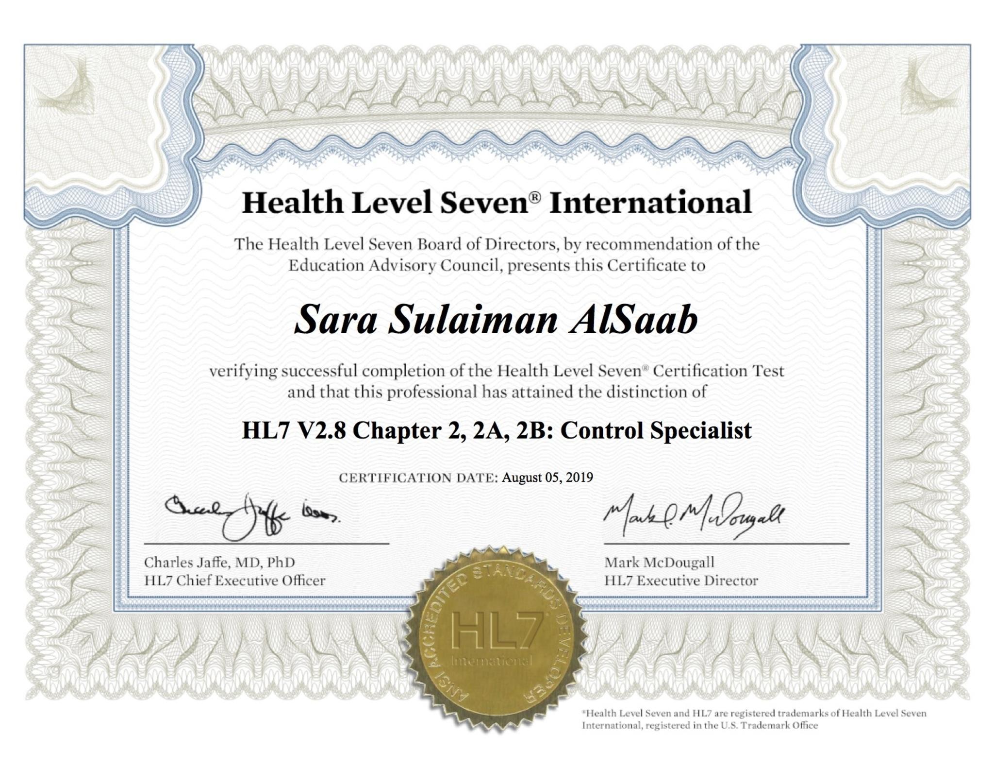 Full hl7 pdf certificate