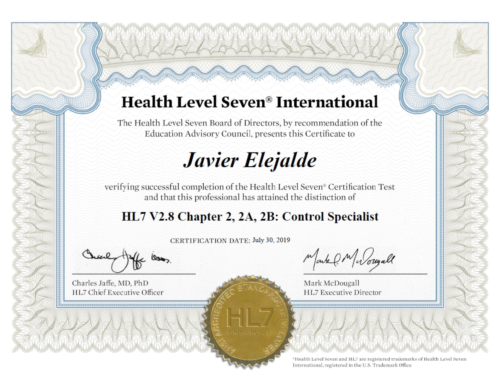 Full hl7 certificate evidence